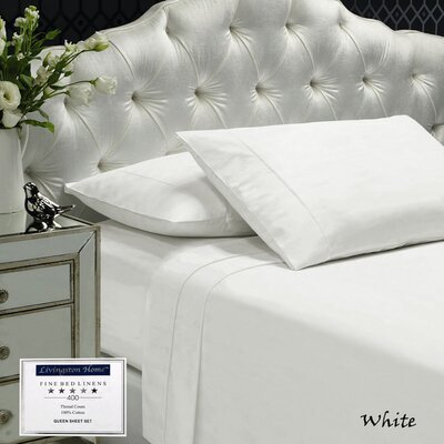Womack 400 Thread Count 100% Cotton Sheet Set Size: Queen, Color: White