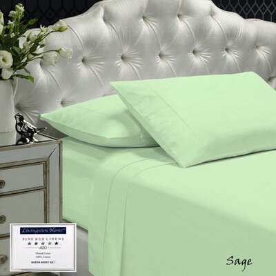 Womack 400 Thread Count 100% Cotton Sheet Set Size: Queen, Color: Sage