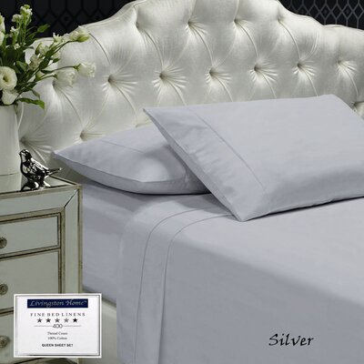 Womack 400 Thread Count 100% Cotton Sheet Set Size: Queen, Color: Silver