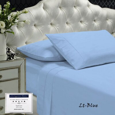 Womack 400 Thread Count 100% Cotton Sheet Set Size: King, Color: Blue