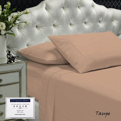 Womack 400 Thread Count 100% Cotton Sheet Set Size: Queen, Color: Taupe