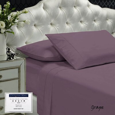Womack 400 Thread Count 100% Cotton Sheet Set Size: Queen, Color: Grape