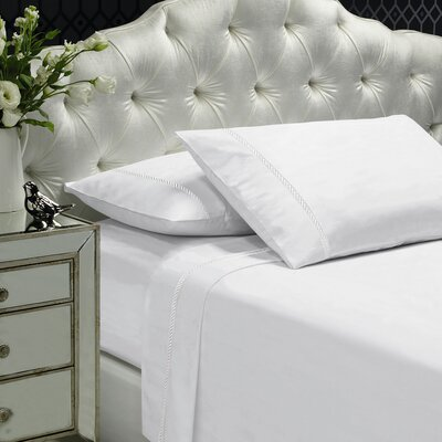 Coeur Embellished 400 Thread Count 100% Cotton Sheet Set Size: King, Color: White