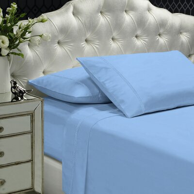Coeur Embellished 400 Thread Count 100% Cotton Sheet Set Size: Queen, Color: Light Blue
