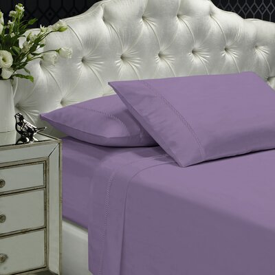 Coeur Embellished 400 Thread Count 100% Cotton Sheet Set Color: Lavender, Size: Queen