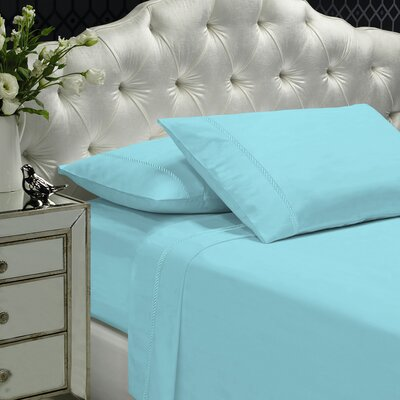 Coeur Embellished 400 Thread Count 100% Cotton Sheet Set Size: Queen, Color: Sea Green