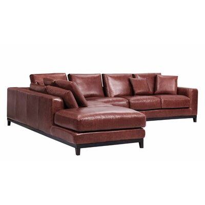 Kellan Sectional Orientation: Left Hand Facing, Upholstery: Distressed Brown Leather