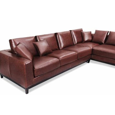 Kellan Sectional Orientation: Right Hand Facing, Upholstery: Distressed Brown Leather