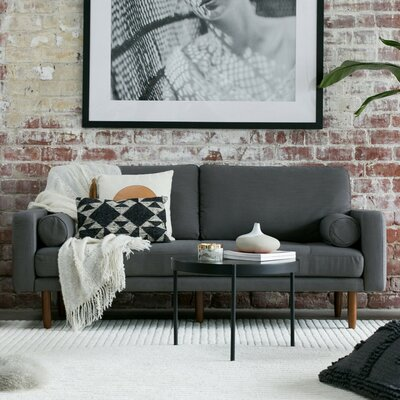 Mid Century Sofa with USB Upholstery: Dark Gray