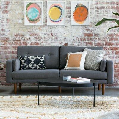 Mid Century Sofa with USB Upholstery: Dark Gray