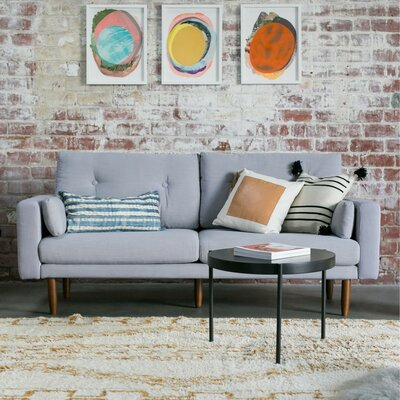 Mid Century Sofa with USB Upholstery: Light Gray