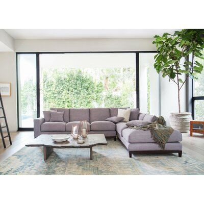 Kellan Sectional Upholstery: Gray tweed, Orientation: Right Hand Facing