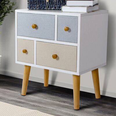 Wood 4 Drawer Nightstand
