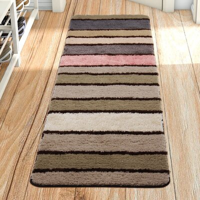 Butterworth Stripe Long Pink/Brown/Beige Area Rug