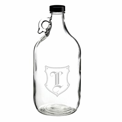Monogram Glass Growler Alphabet Letter: L B111 L