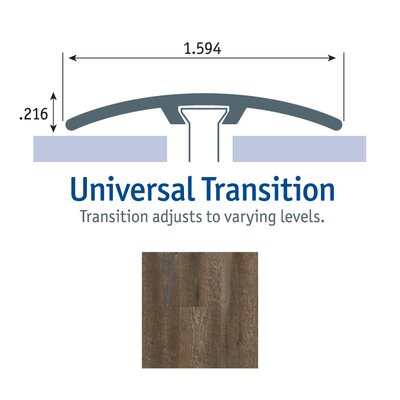 0.25 x 1.75 x 94 Oak Universal Transition in Pewter