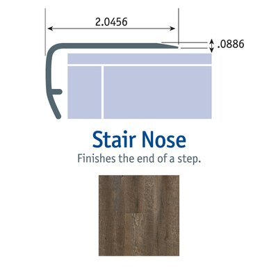 1.13 x 2.13 x 94 Stair Nose in Pewter
