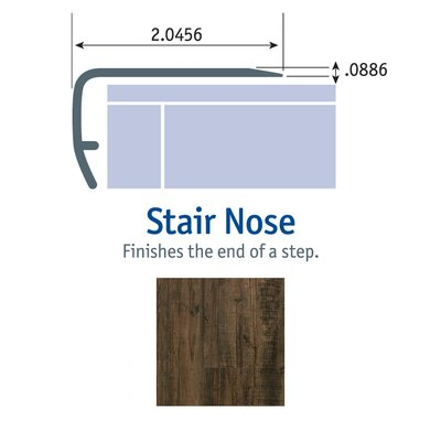 1.13 x 2.13 x 94 Stair Nose in Black and Tan