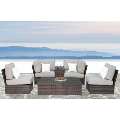 Simmerman Cup Table 6 Piece Conversation Set with Cushions