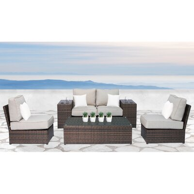 Simmerman Cup Table 7 Piece Conversation Set with Cushions