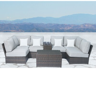 Simmerman Cup Table 8 Piece Sectional Set with Cushions