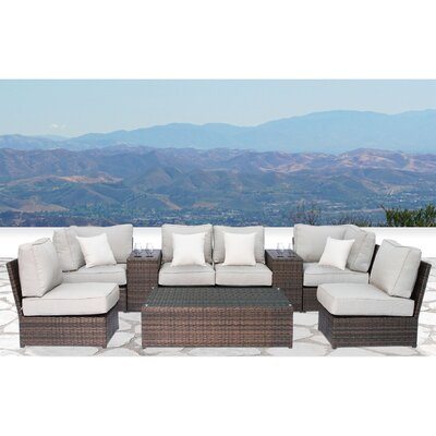 Simmerman Cup Table 9 Piece Conversation Set with Cushions