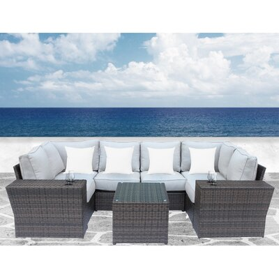 Simmerman Cup Table 9 Piece Sectional Set with Cushions