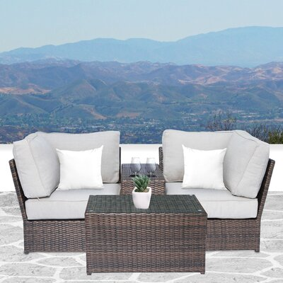 Simmerman Cup Table 4 Piece Sofa Set with Cushions