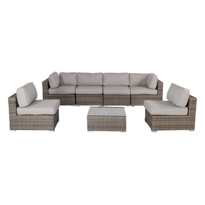 Vardin 7 Piece Rattan Conversation Set with Cushion