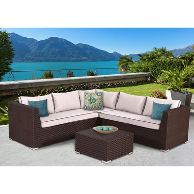 Mesquite Olefin Deep Seating 4 Piece Sectional Set with Cushions