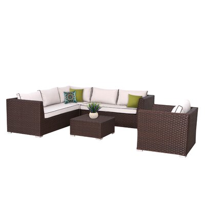 Mesquite Olefin Deep Seating 5 Piece Sectional Set with Cushions