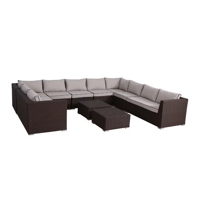 Mesquite Olefin Deep Seating 10 Piece Sectional Set with Cushions