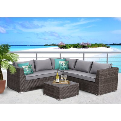 Antionette 4 Piece Sectional Set with Cushions