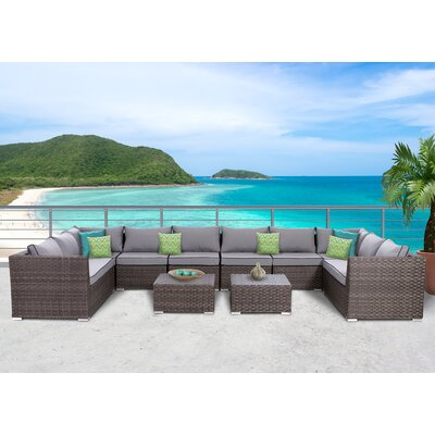 Antionette 10 Piece Sectional Set with Cushions
