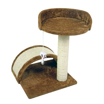 19 Small Sisal Scratching Post Furniture Playhouse Pet Bed Kitten Toy Cat Tower for Kittens Perch Color: Brown