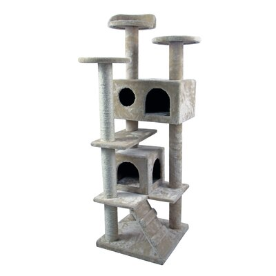 50 Tower Furniture Scratch Post Kitty Pet House Play Furniture Sisal Pole and Stairs Cat Tree and Condo