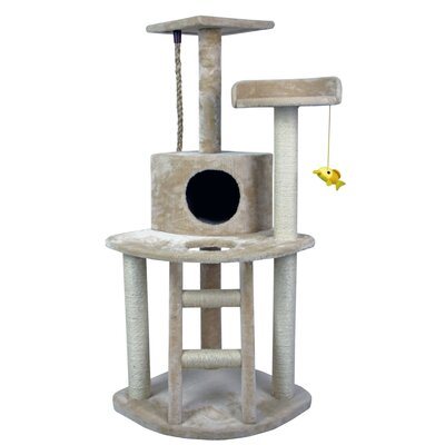 48 Tower Furniture Scratch Post Kitty Pet House Play Furniture Sisal Pole and Ladder Stairs Cat Tree and Condo
