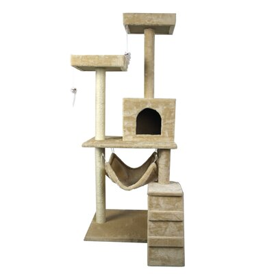59 Scratch Post Kitty Pet House Play Furniture Sisal Pole Stairs and Hammock Cat Trees and Condos