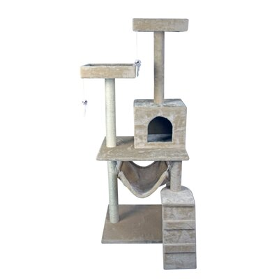 59 Cat Tree Tower Condo Furniture Scratch Post Kitty Pet House Play Furniture Sisal Pole Stairs and Hammock (Beige)