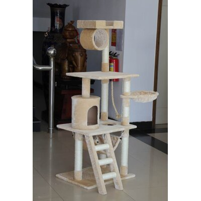 61 Cat Tree Bed Sisal Scratching Post Furniture Playhouse Pet Bed Kitten Cat Tower Condo Stairs for Kittens (Beige)