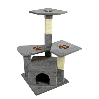 35 Tower Furniture Scratch Post Kitty Pet House Play Furniture Sisal Pole Paw Print Perch Cat Tree and Condo