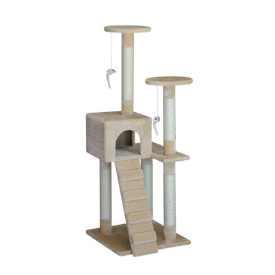 52 Bed Sisal Scratching Post Furniture Playhouse Pet Bed Kitten Cat Tower  Stairs for Kittens Cat Tree and Condo
