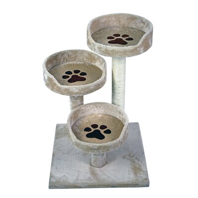 28 Three Bed Paw Print Sisal Scratching Post Furniture Playhouse Pet Bed Kitten Cat Tower for Kittens Cat Tree and Condo