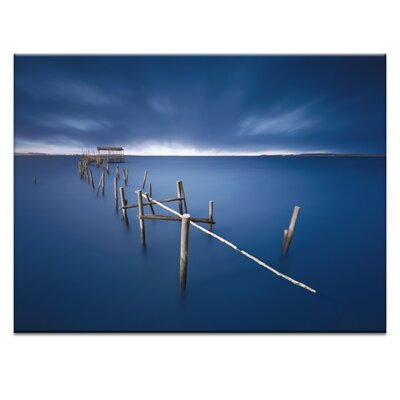 'Blue Pier' Photographic Print on Wrapped Canvas Size: 16