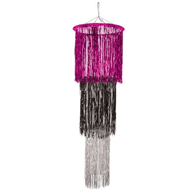 3-Tier Shimmering Drum Chandelier Color: Cerise/Black/Silver