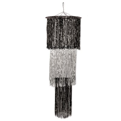 3-Tier Shimmering Drum Chandelier Color: Black/Silver