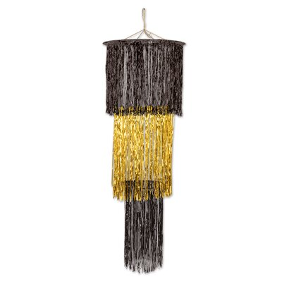 3-Tier Shimmering Drum Chandelier Color: Black/Gold