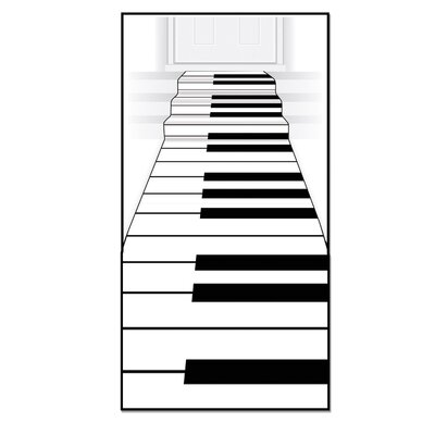 Piano Keyboard White/Black Area Rug
