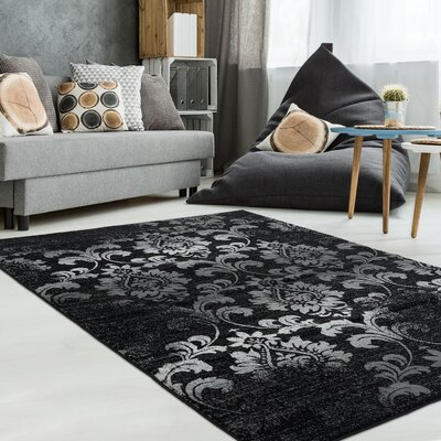 Abra Black/Gray Area Rug Rug Size: 39 x 55