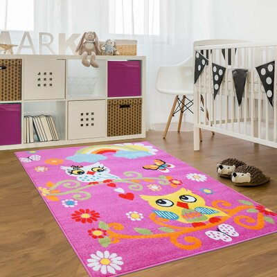 Jodie Kids Owl Pink Area Rug Rug Size: Rectangle 53 x 75